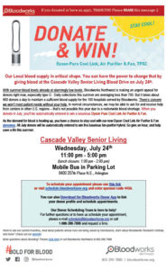Bloodworks Blood Drive in Arlington @ Cascade Valley Senior Living