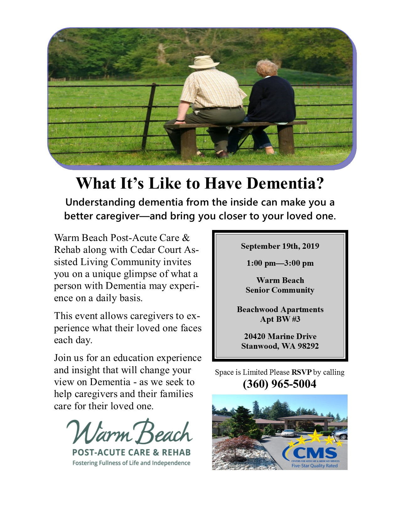 What is it Like to Have Dementia? @ Warm Beach Post Acute Care & Rehab